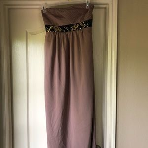 Dusty pink floor length maxi dress with gem detail